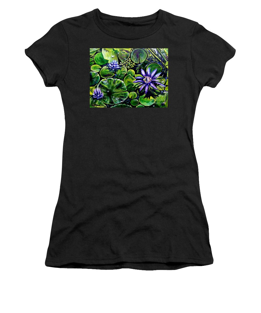 Purple Women's T-Shirt featuring the painting Purple Dawn by Elizabeth Robinette Tyndall