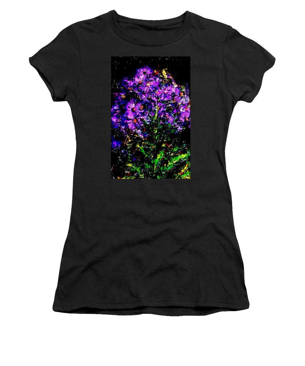 Digital Photograph Women's T-Shirt featuring the photograph Purple Flower Still Life by David Lane