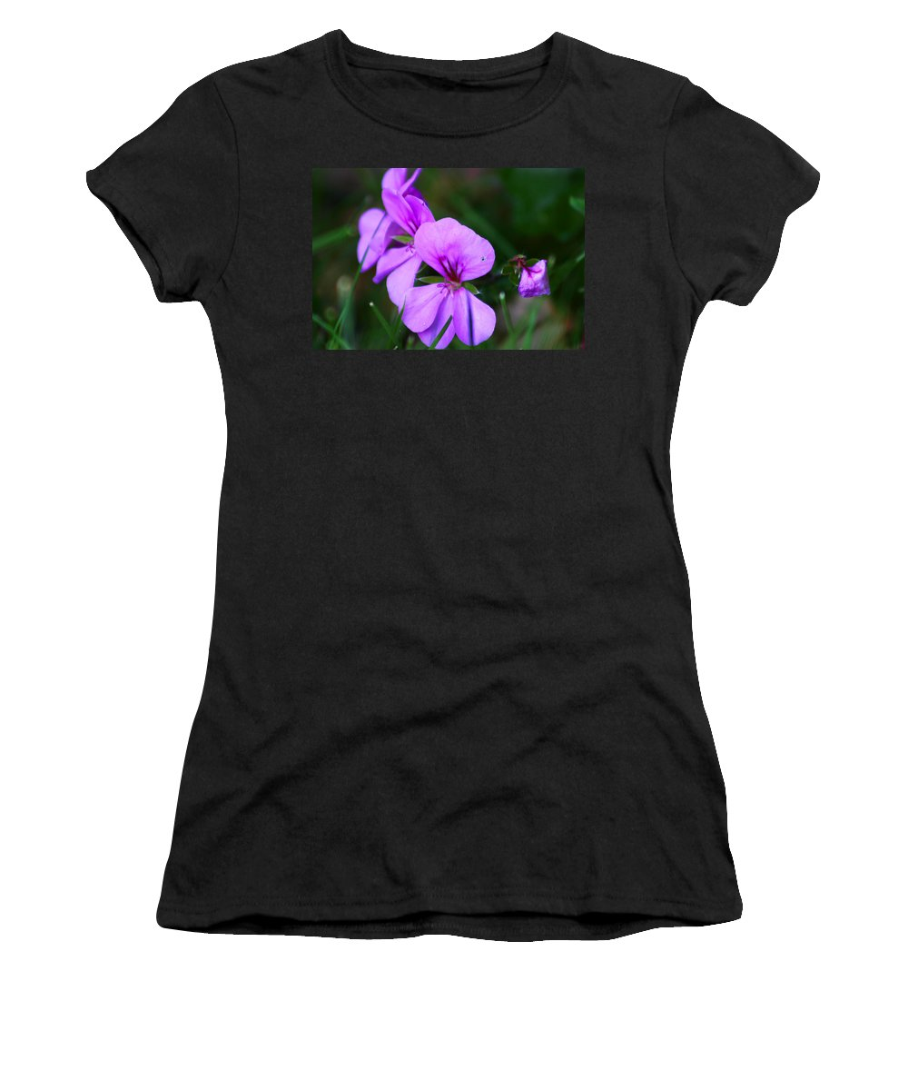Flowers Women's T-Shirt (Athletic Fit) featuring the photograph Purple Flowers by Anthony Jones