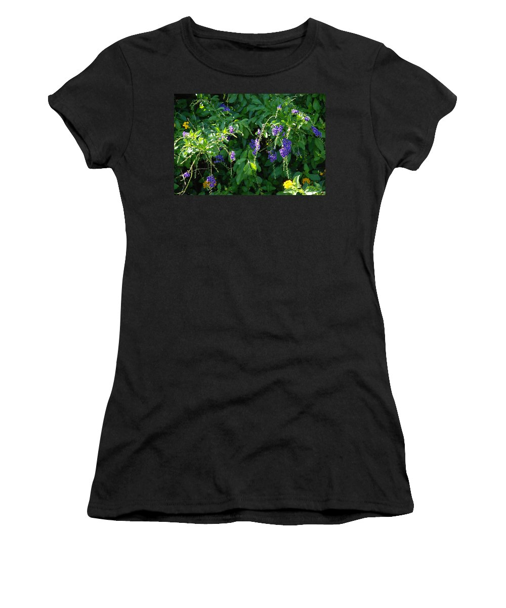 Floral Women's T-Shirt featuring the photograph Purple Hanging Flowers by Rob Hans