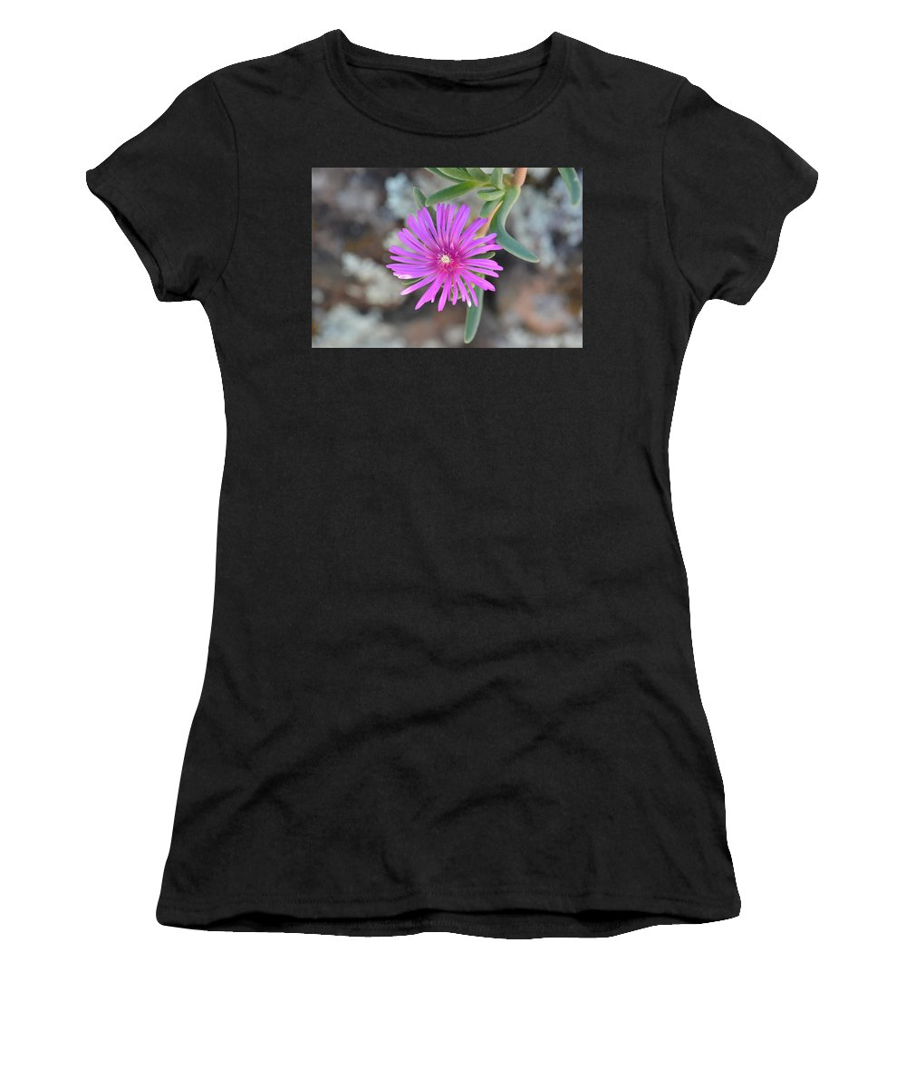 Flower Women's T-Shirt (Athletic Fit) featuring the photograph Purple Ice Flower Close Up by Brigitta Diaz