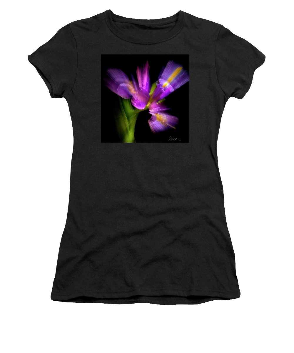 Iris Women's T-Shirt (Athletic Fit) featuring the photograph Purple Iris by Frederic A Reinecke
