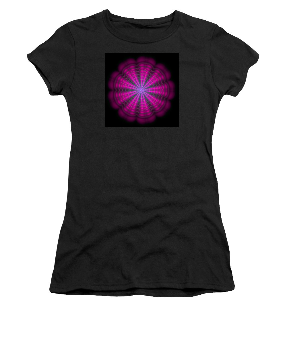 Mandala Women's T-Shirt featuring the digital art Purple Lightmandala Ripples by Robert Thalmeier