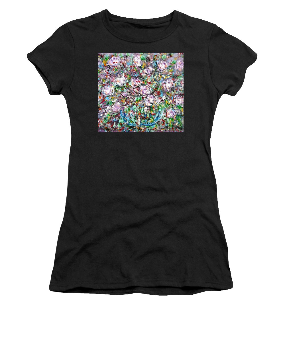 Abstract Women's T-Shirt featuring the painting Purple Passions by Natalie Holland