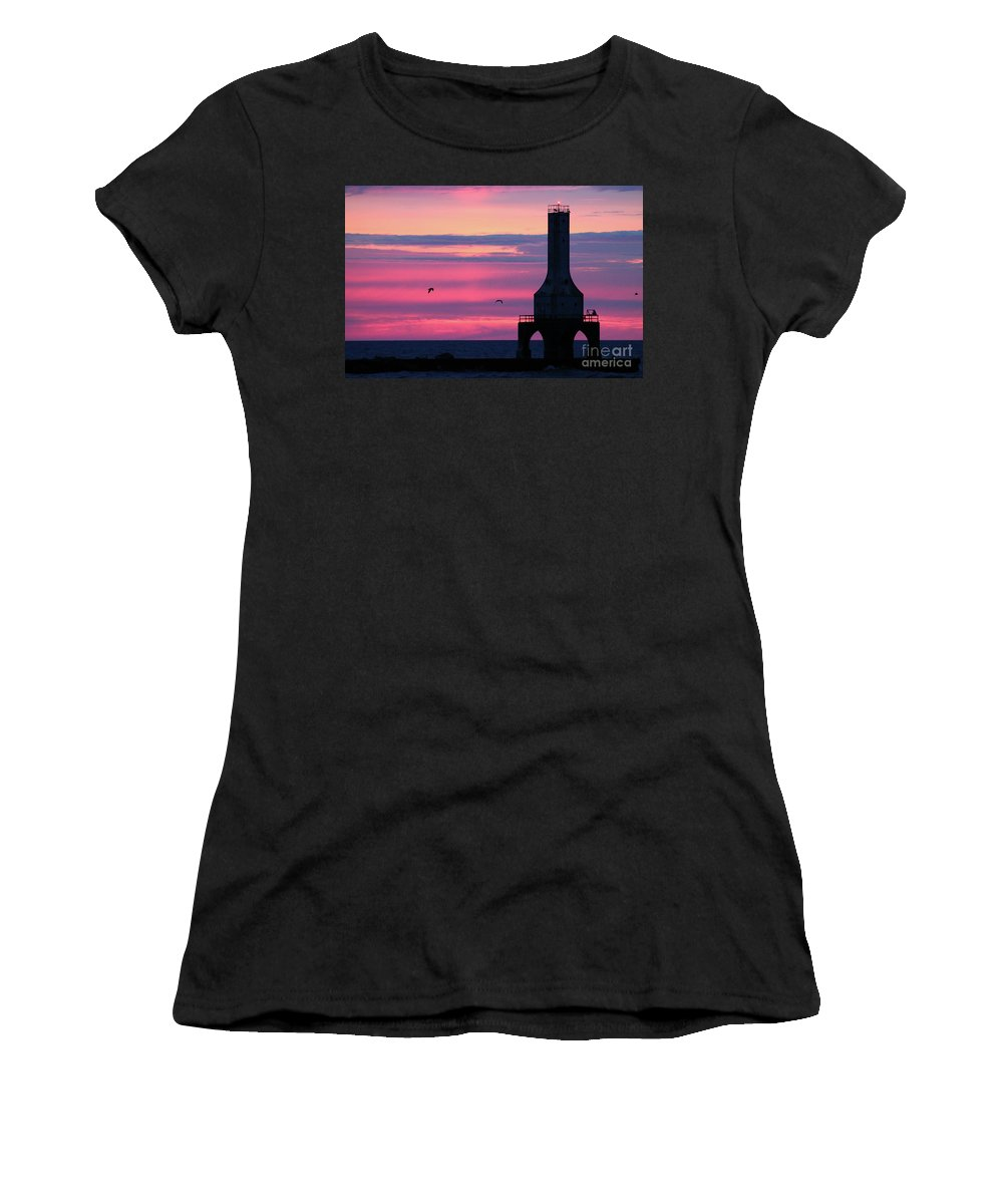Port Washington Women's T-Shirt (Athletic Fit) featuring the photograph Purple Perfection In Port by Eric Curtin