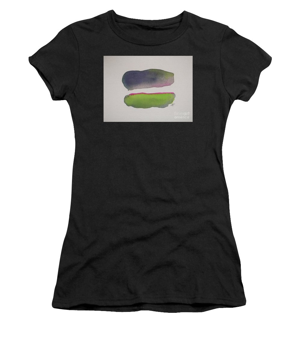 Abstract Women's T-Shirt (Athletic Fit) featuring the painting Purple Rain by Vesna Antic