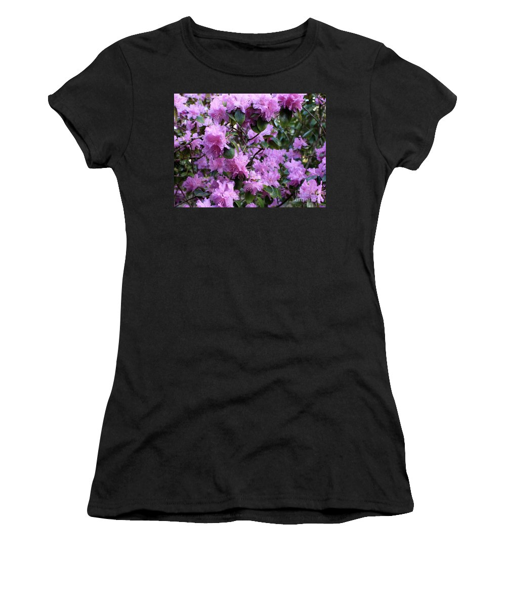 Spring Women's T-Shirt (Athletic Fit) featuring the photograph Purple Rhododendrons by Carol Groenen