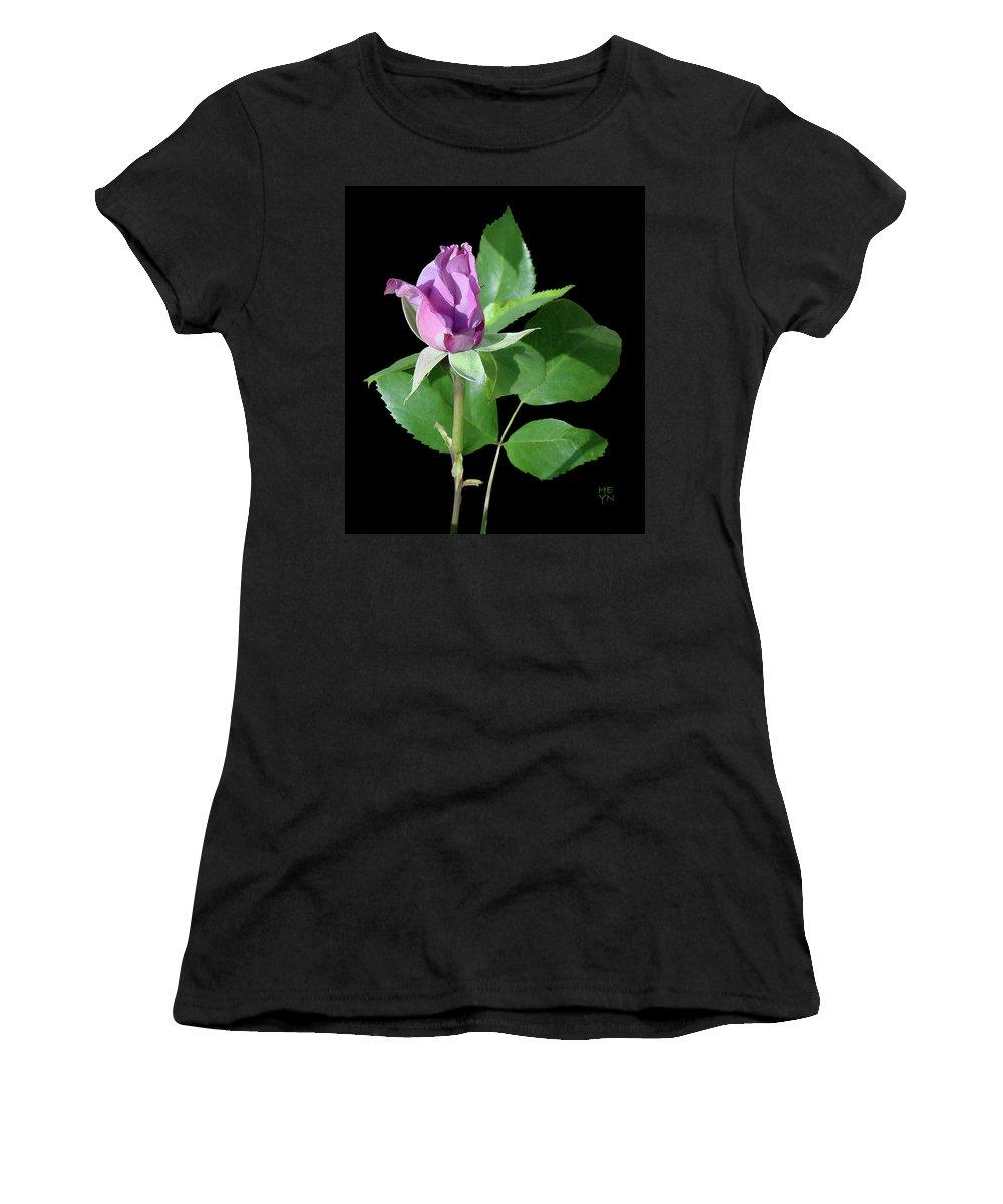 Cutout Women's T-Shirt (Athletic Fit) featuring the photograph Purple Rosebud1 Cutout by Shirley Heyn
