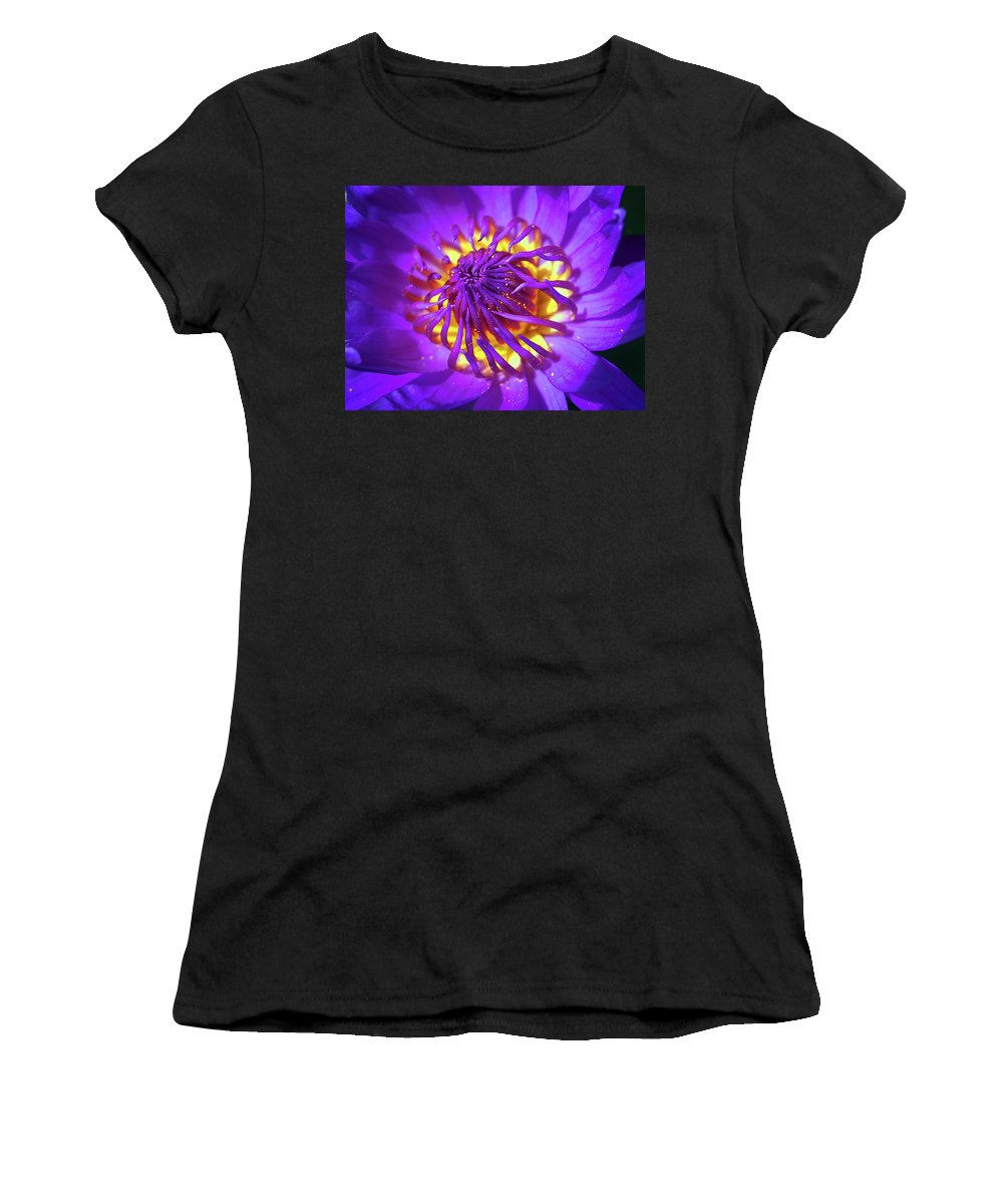 Lily Women's T-Shirt featuring the photograph Purple Water Lily Macro by Kaleidoscopik Photography