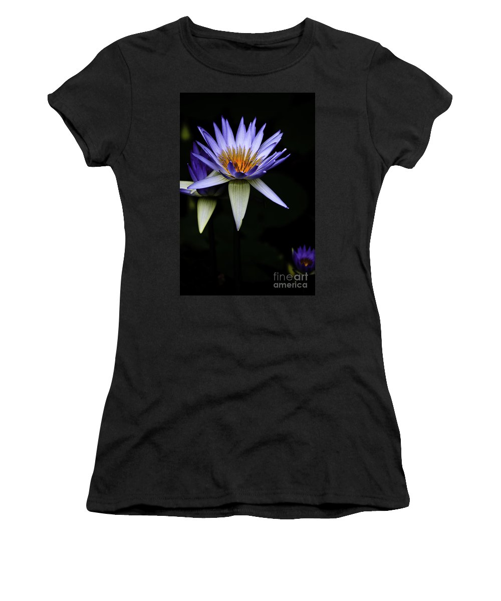 Purple Waterlily Water Lily Flower Flora Women's T-Shirt (Athletic Fit) featuring the photograph Purple Waterlily by Sheila Smart Fine Art Photography