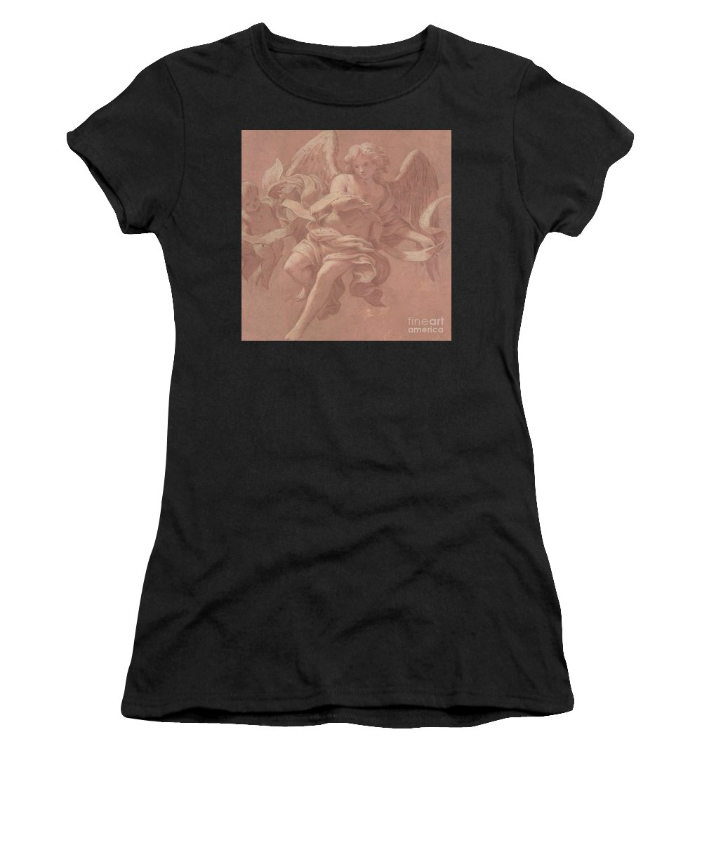 Putto Women's T-Shirt (Athletic Fit) featuring the painting Putto And Angel Holding A Banderole, 1706 by Antonio Franchi