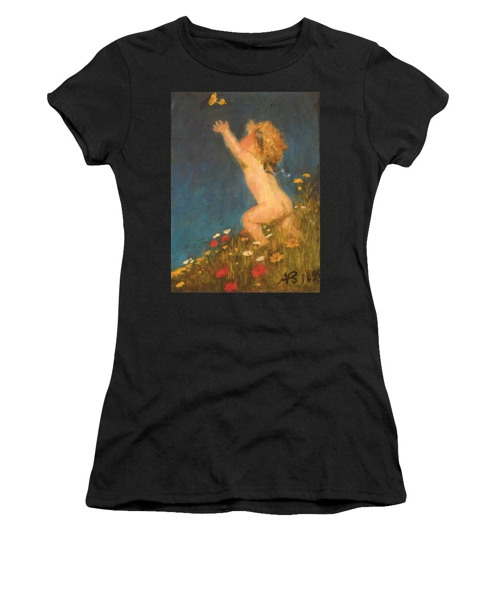 Putto Women's T-Shirt (Athletic Fit) featuring the painting Putto And Butterfly 1896 by Bocklin Arnold