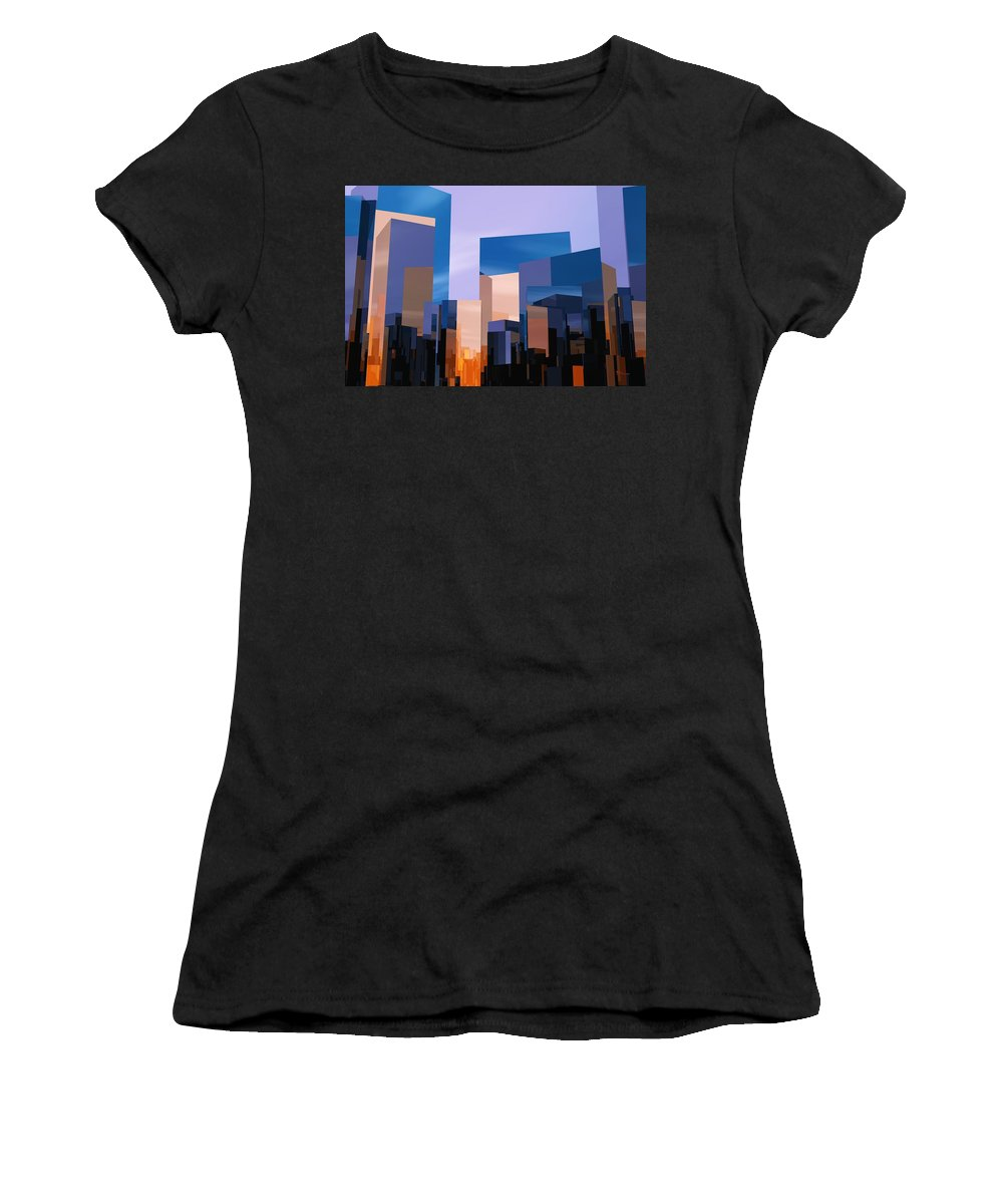 Abstractly Women's T-Shirt (Athletic Fit) featuring the digital art Q-city One by Max Steinwald