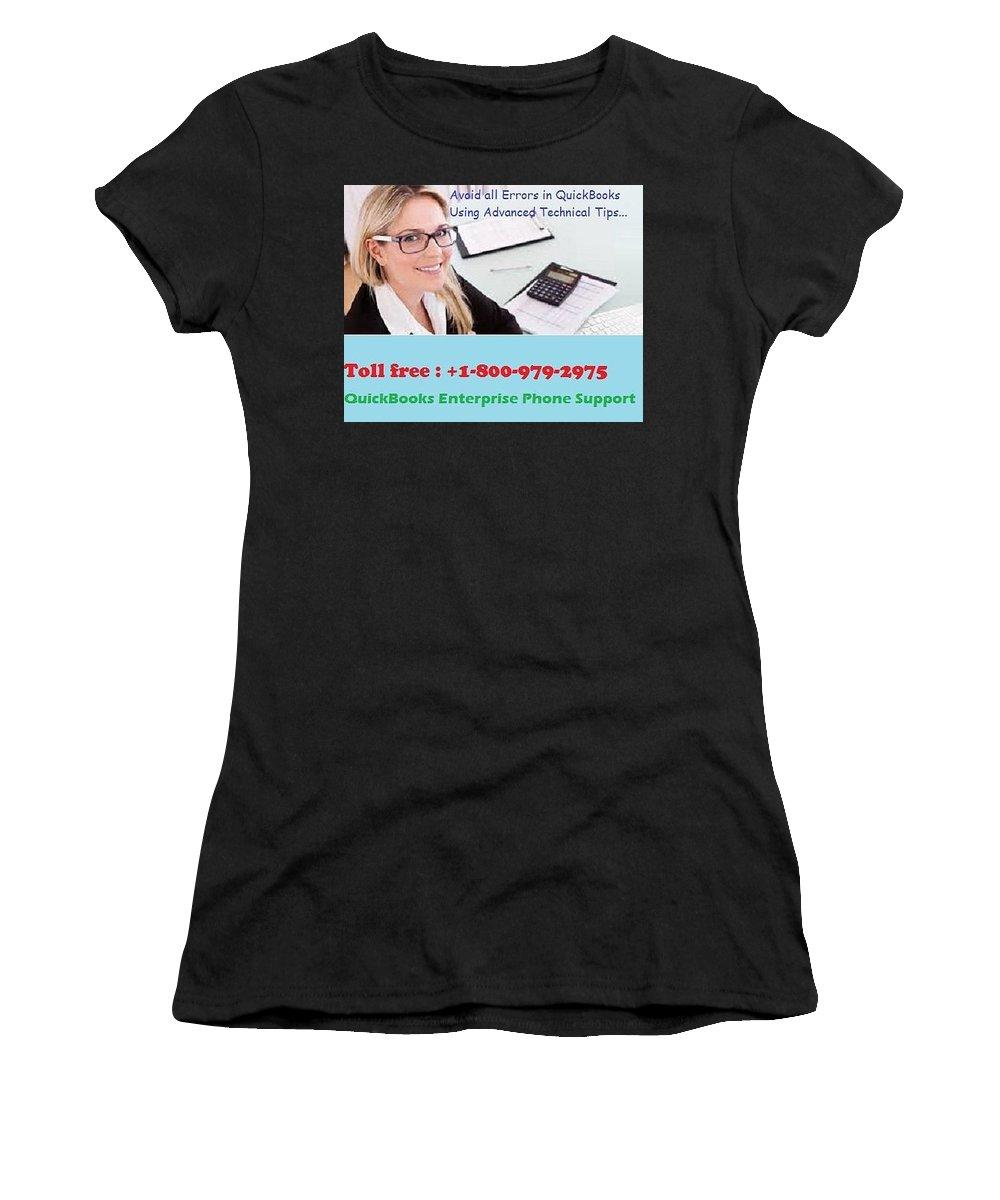 Quickbooks Enterprise Support Women's T-Shirt (Athletic Fit) featuring the digital art Quickbooks Enterprise Support To Help You Use A Flawless Accounting Program by Jenima Den
