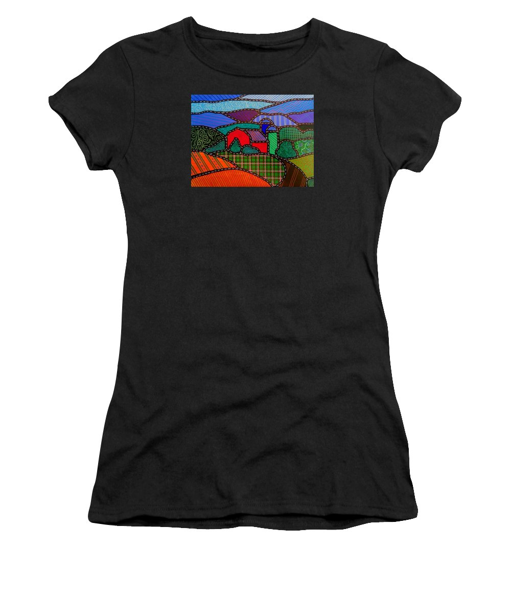 Barn Women's T-Shirt (Athletic Fit) featuring the painting Quilted Red Barn And Mountains by Jim Harris