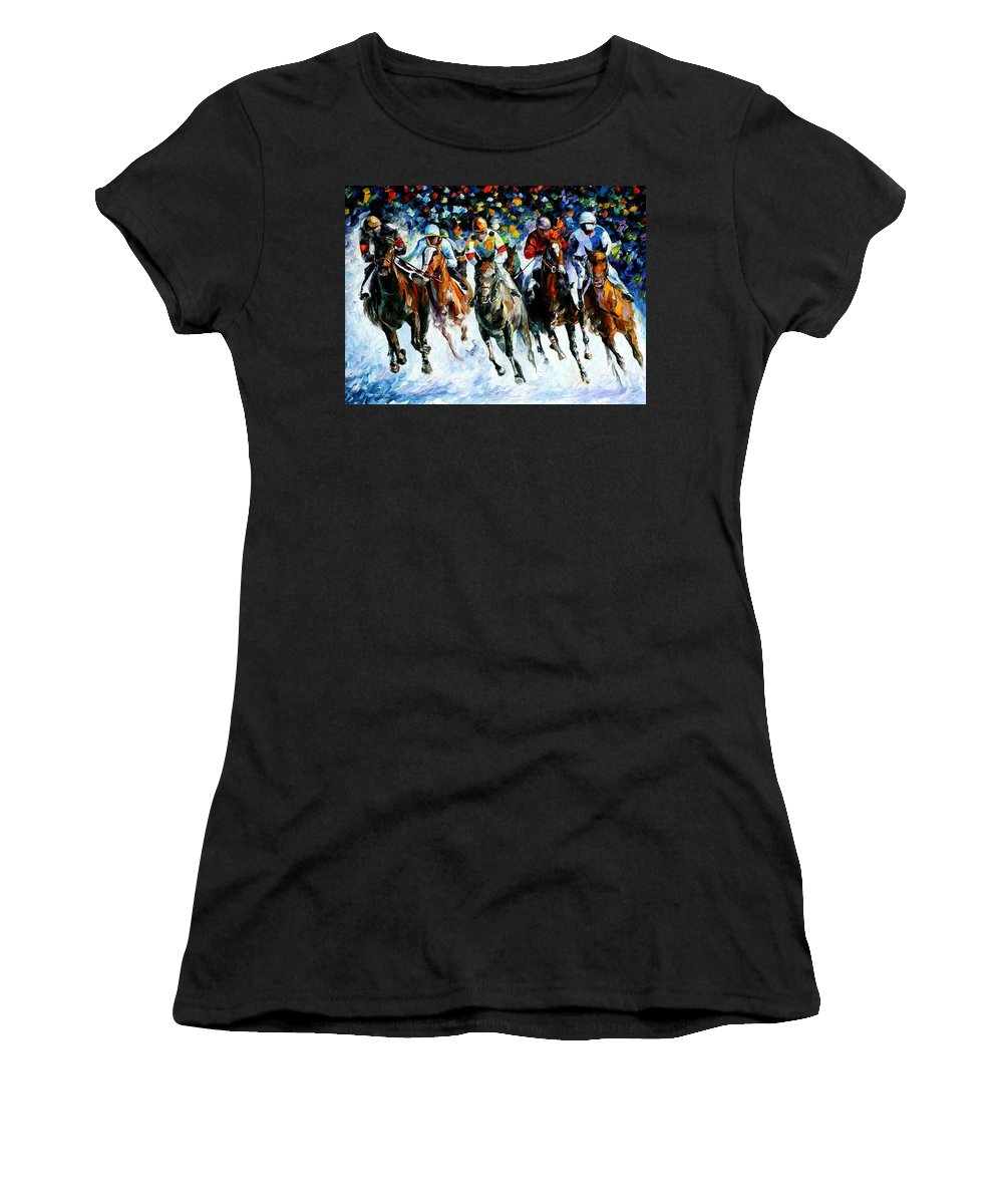 Race Women's T-Shirt (Athletic Fit) featuring the painting Race On The Snow by Leonid Afremov