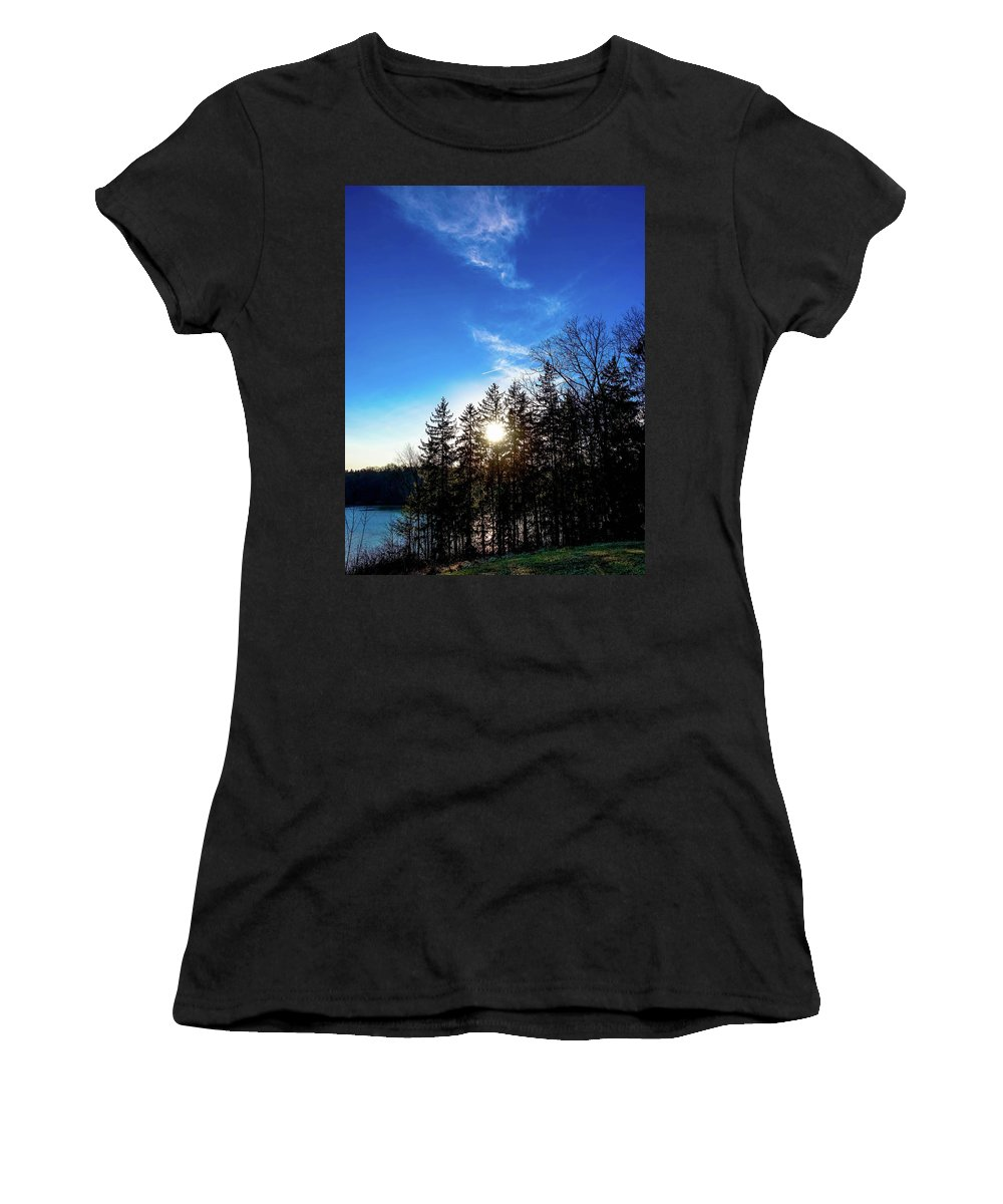 Landscape Women's T-Shirt (Athletic Fit) featuring the photograph Racing The Setting Sun by Timm Armitage