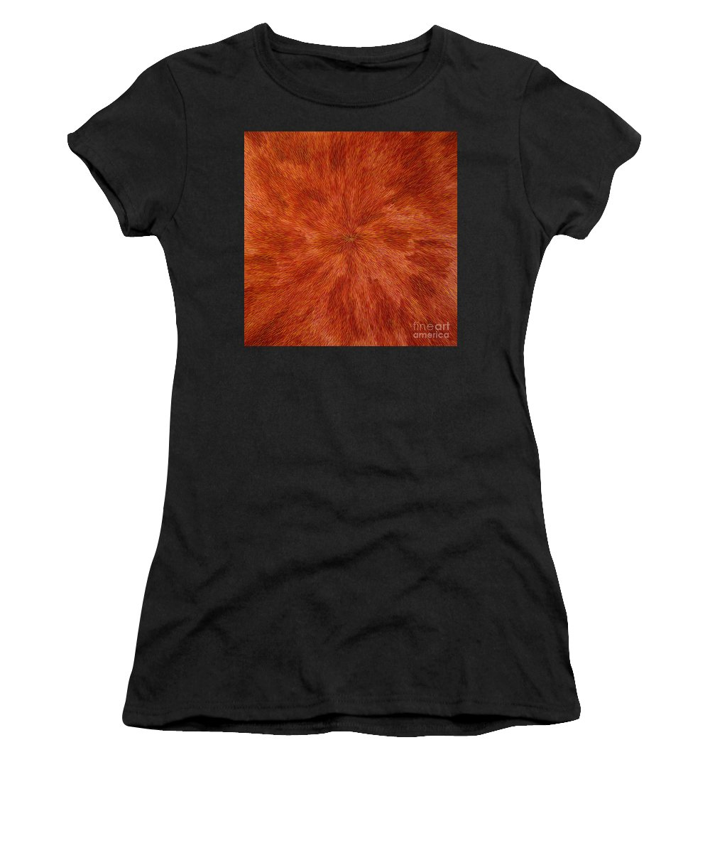 Abstract Women's T-Shirt (Athletic Fit) featuring the painting Radiation With Brown Yellow And Voilet by Dean Triolo