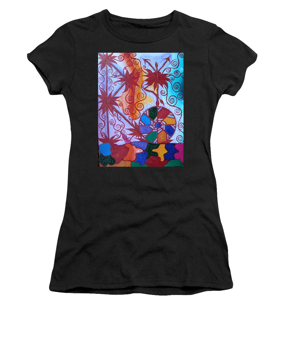 Symbol Women's T-Shirt featuring the painting Raido, Rhytm , Dance by Joanna Pilatowicz