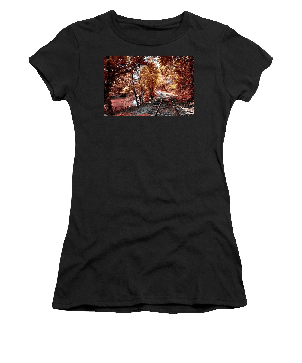 Rail Road Along Brandywine Creek Women's T-Shirt featuring the photograph Rail Road Along Brandywine Creek by Bill Cannon