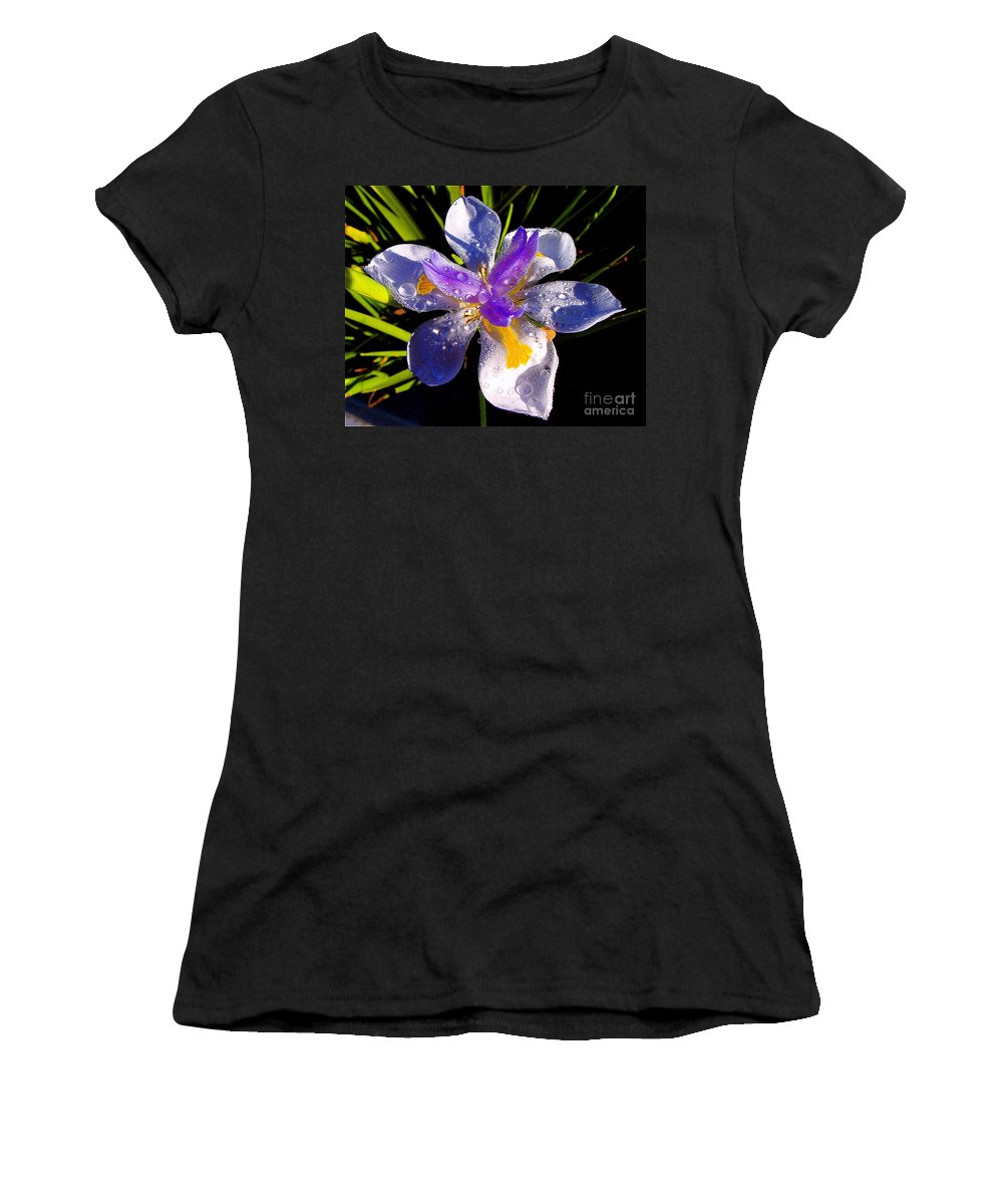 Flower Women's T-Shirt (Athletic Fit) featuring the photograph Rain Flower Morning by Jerome Stumphauzer