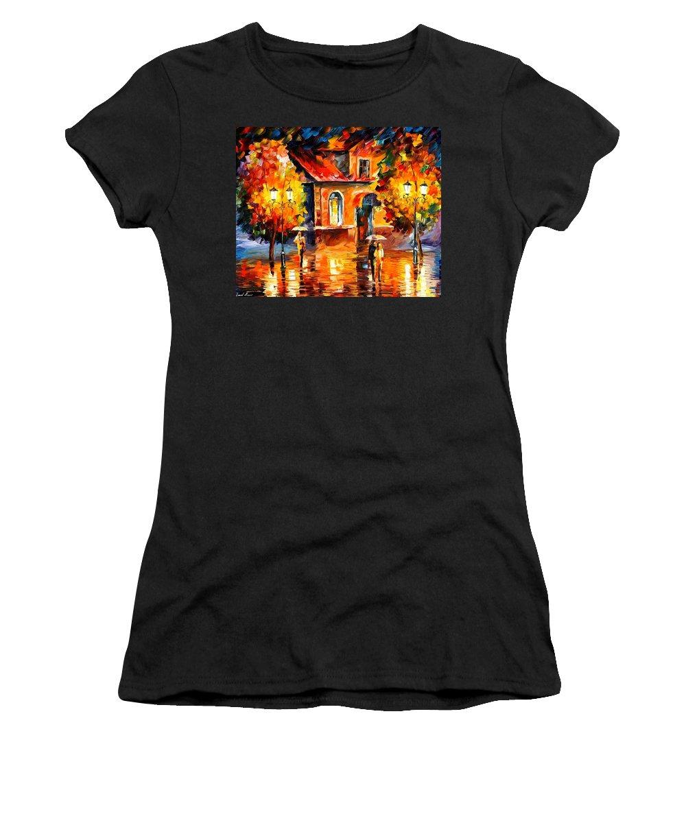 Afremov Women's T-Shirt featuring the painting Rain Impression by Leonid Afremov