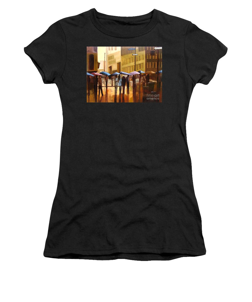 Cityscape Women's T-Shirt (Athletic Fit) featuring the painting Rain In Manhattan Number Seventeen by Tate Hamilton