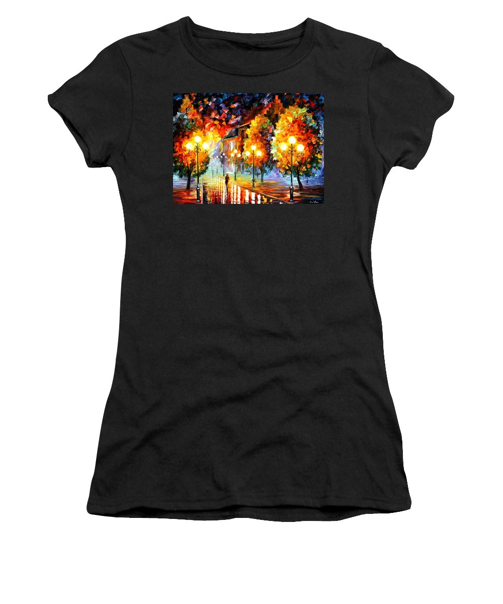 Afremov Women's T-Shirt (Athletic Fit) featuring the painting Rain In The Night City by Leonid Afremov