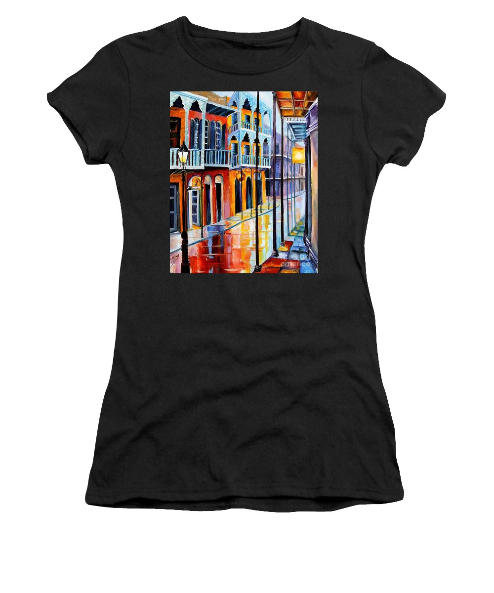New Orleans Women's T-Shirt featuring the painting Rain On Royal Street by Diane Millsap
