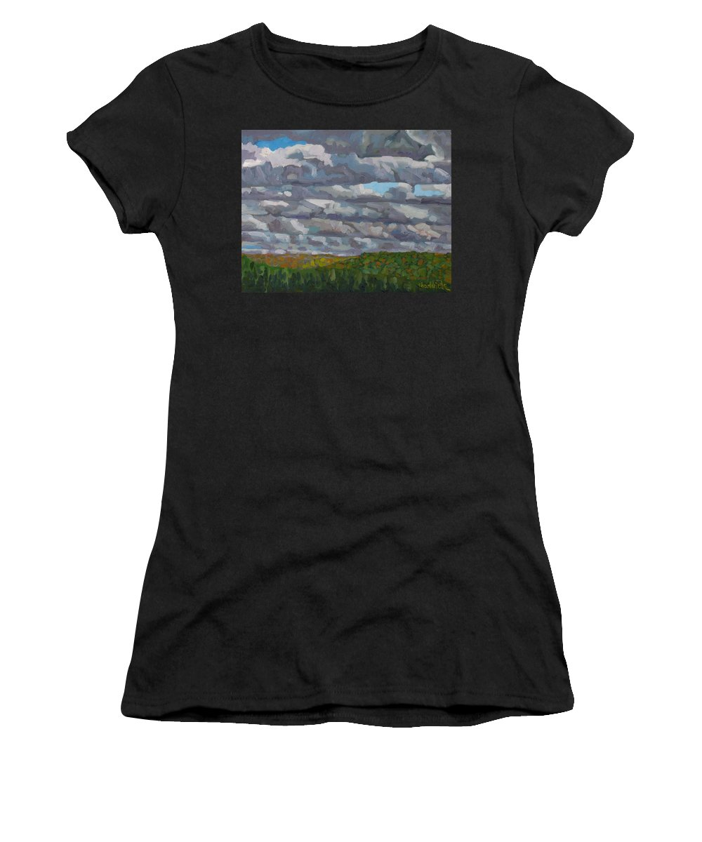 837 Women's T-Shirt (Athletic Fit) featuring the painting Rain Squalls by Phil Chadwick