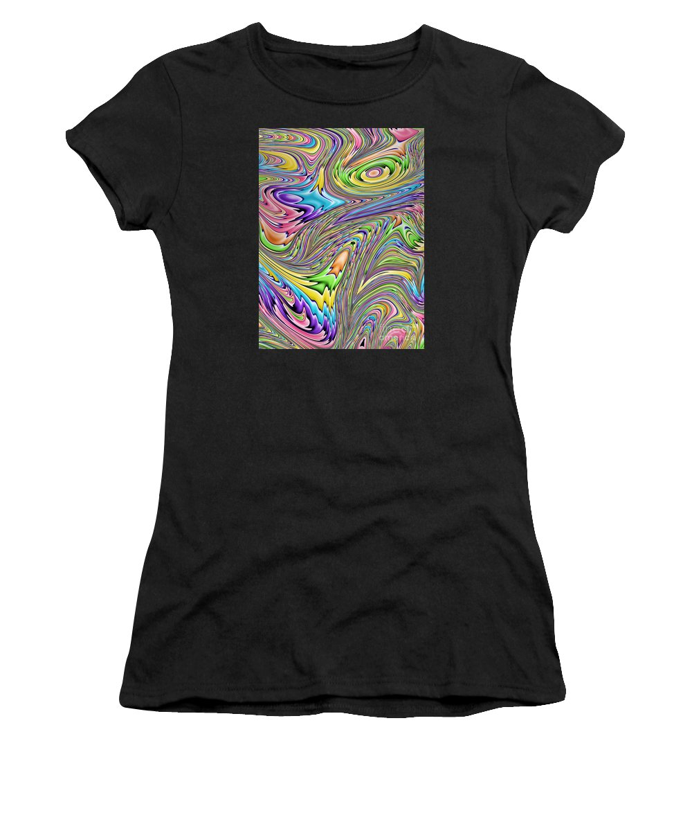 Rainbow Abstract Women's T-Shirt (Athletic Fit) featuring the digital art Rainbow by John Edwards