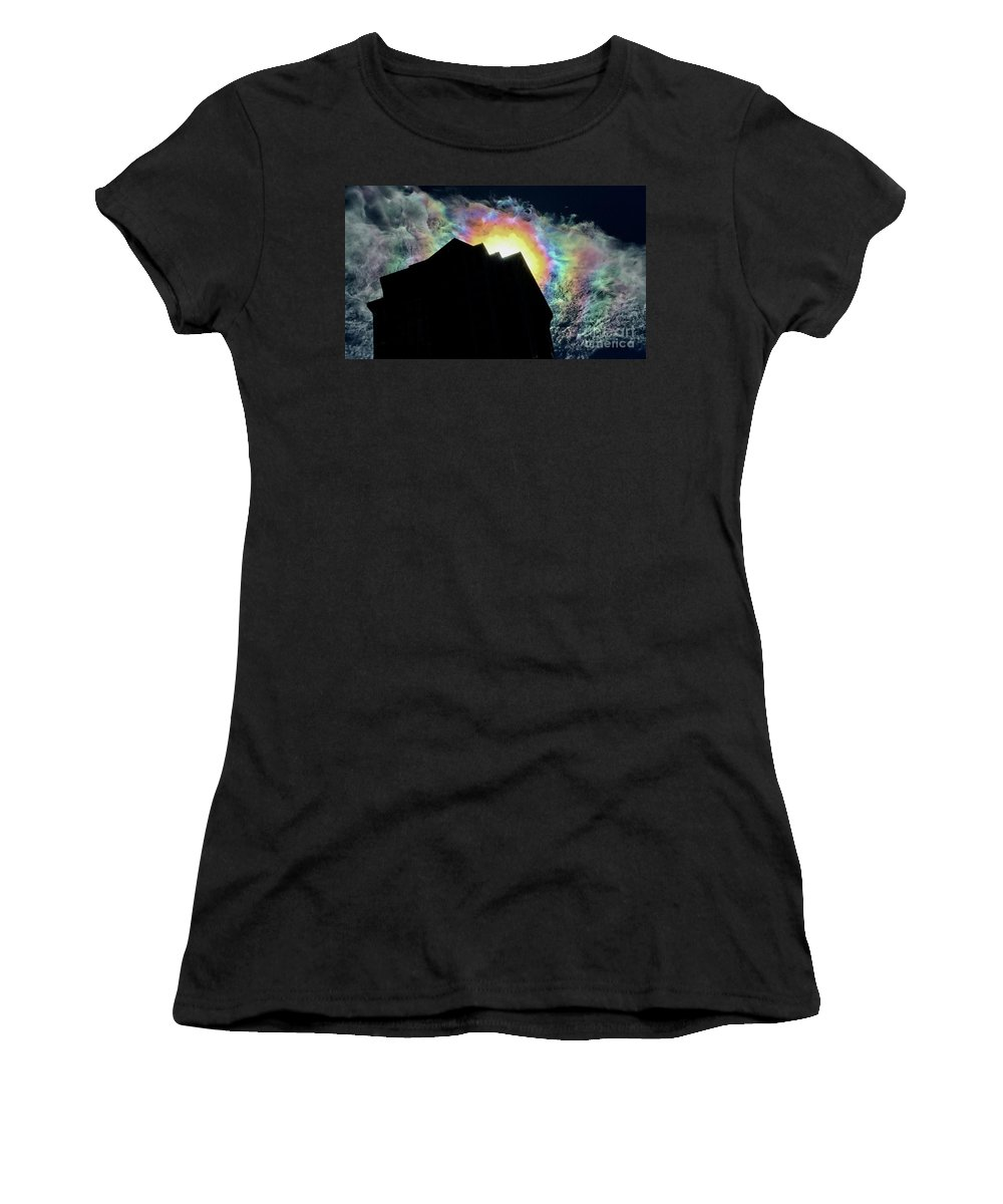 Rainbow Women's T-Shirt (Athletic Fit) featuring the photograph Rainbow Over The Pyramid Club by Aurorah Kelevh