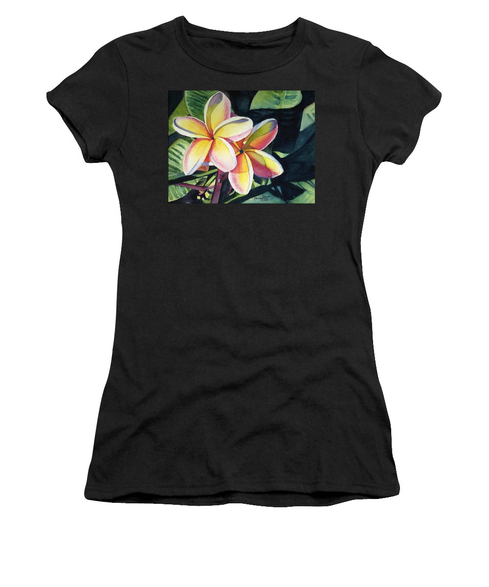 Rainbow Women's T-Shirt (Athletic Fit) featuring the painting Rainbow Plumeria by Marionette Taboniar