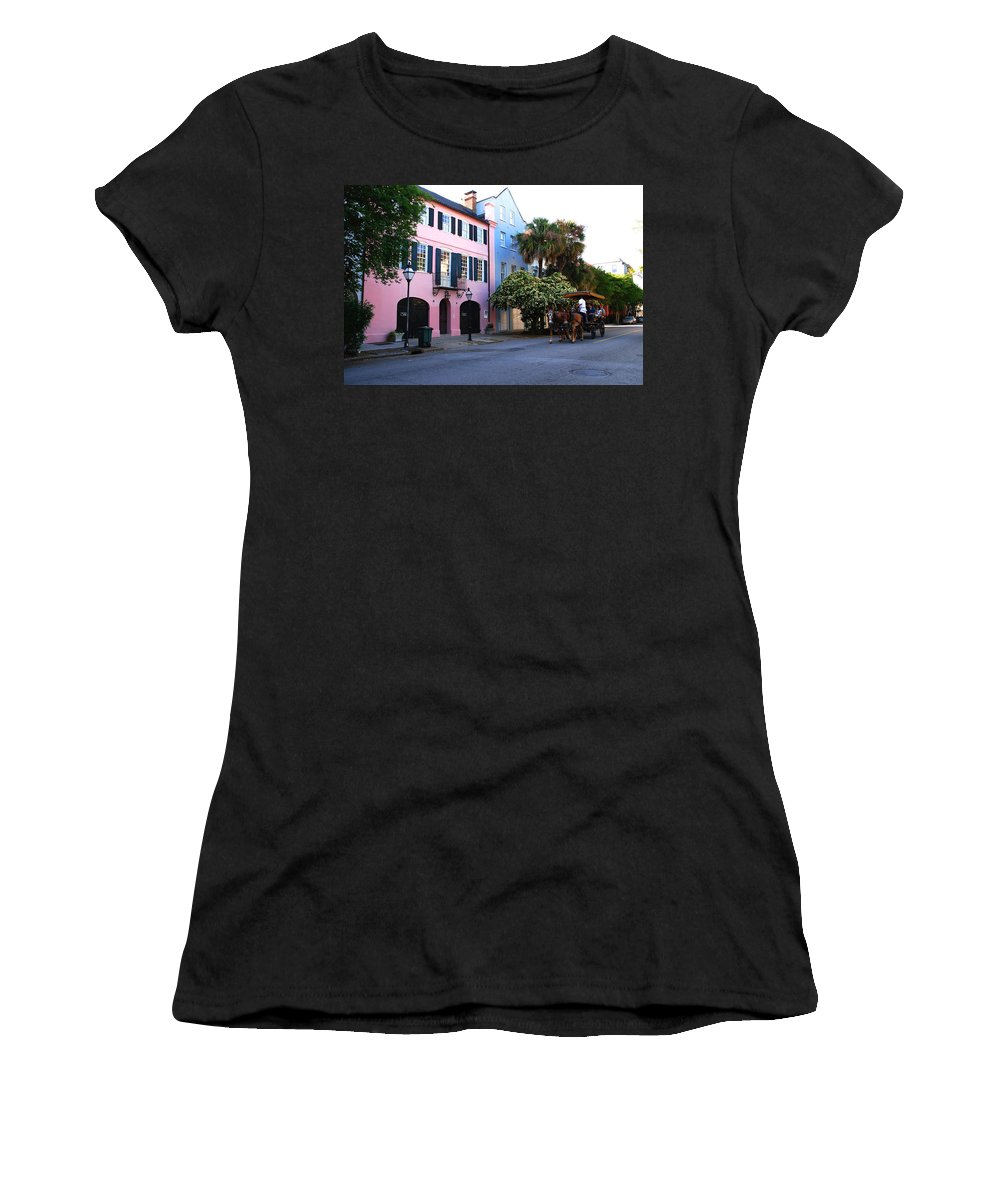 Charleston Women's T-Shirt (Athletic Fit) featuring the photograph Rainbow Row Charleston by Susanne Van Hulst