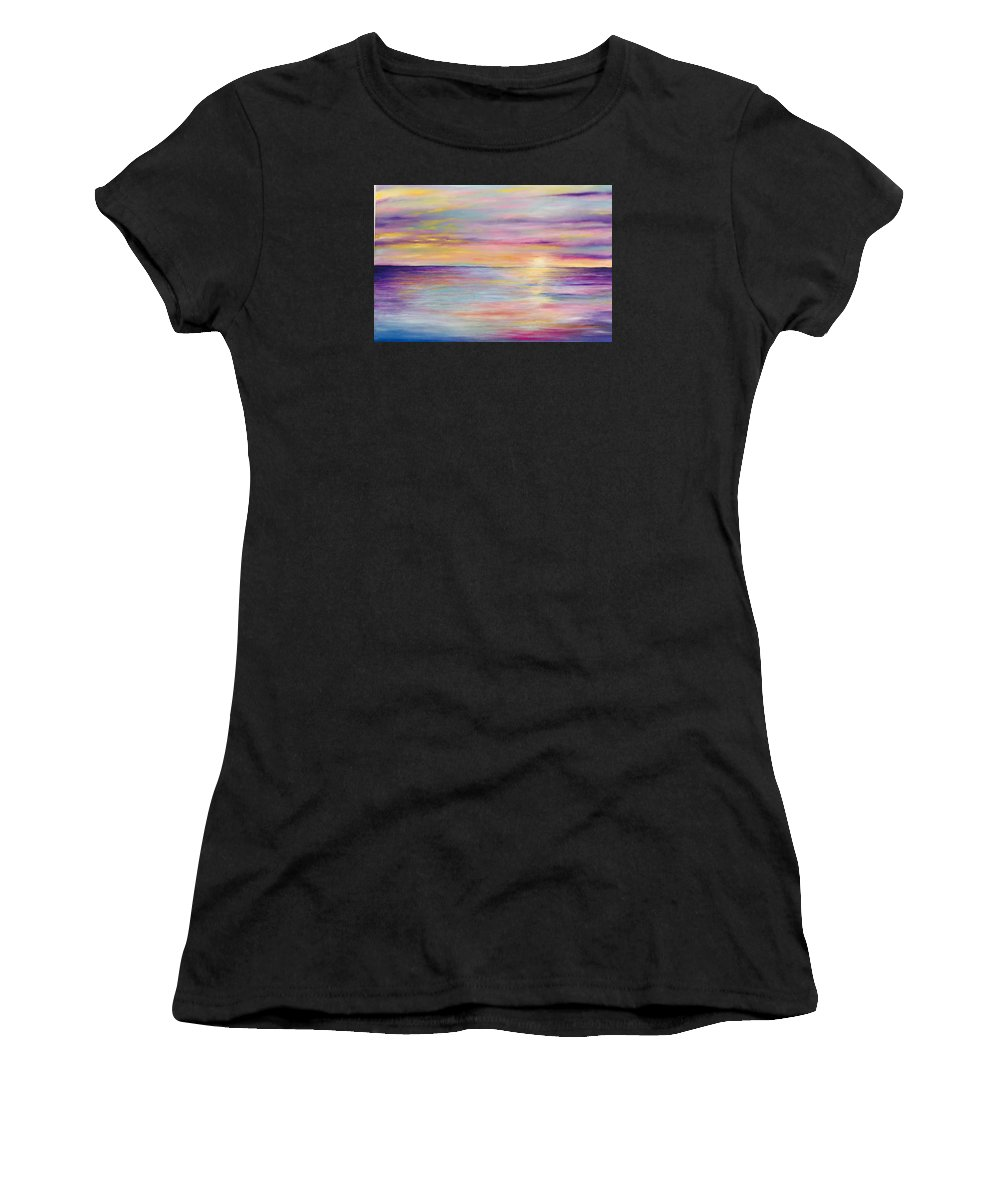 Landscape .seascape Women's T-Shirt (Athletic Fit) featuring the painting Rainbow Sunset by Judy Davis