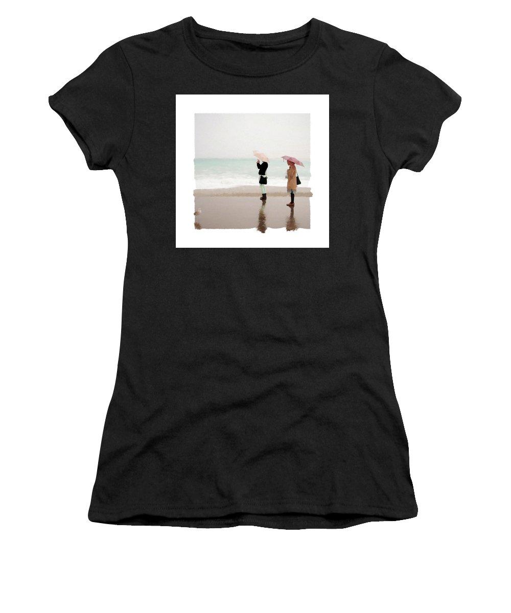 Beach Women's T-Shirt featuring the digital art Rainy Day At The Beach Pf by Ronald Bolokofsky