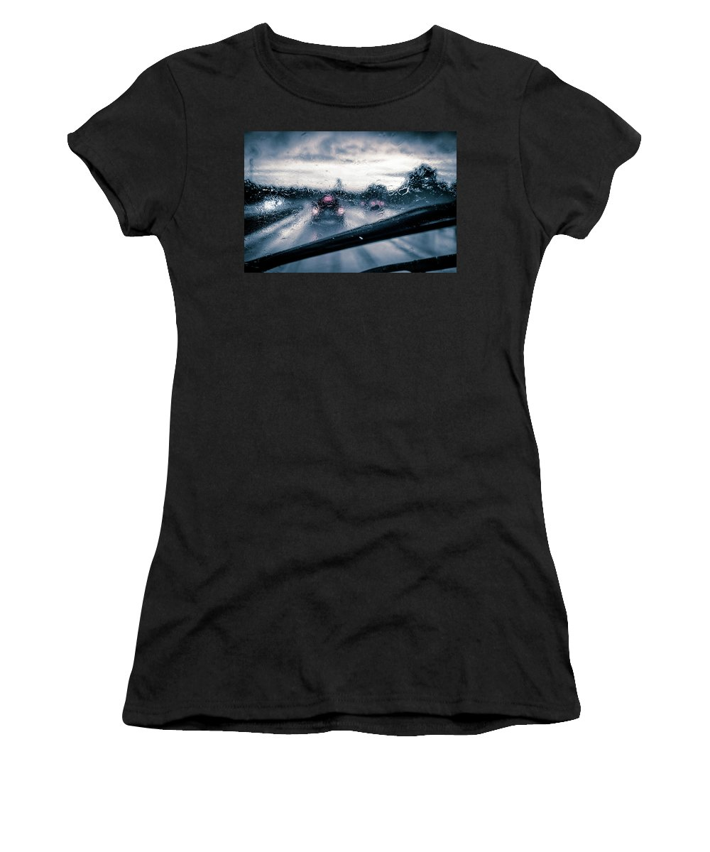 Rainy Drive Women's T-Shirt (Athletic Fit) featuring the photograph Rainy Day In July by David Sutton
