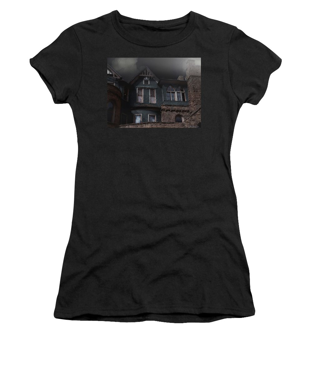 Clouds Women's T-Shirt featuring the painting Rainy Night House by RC DeWinter