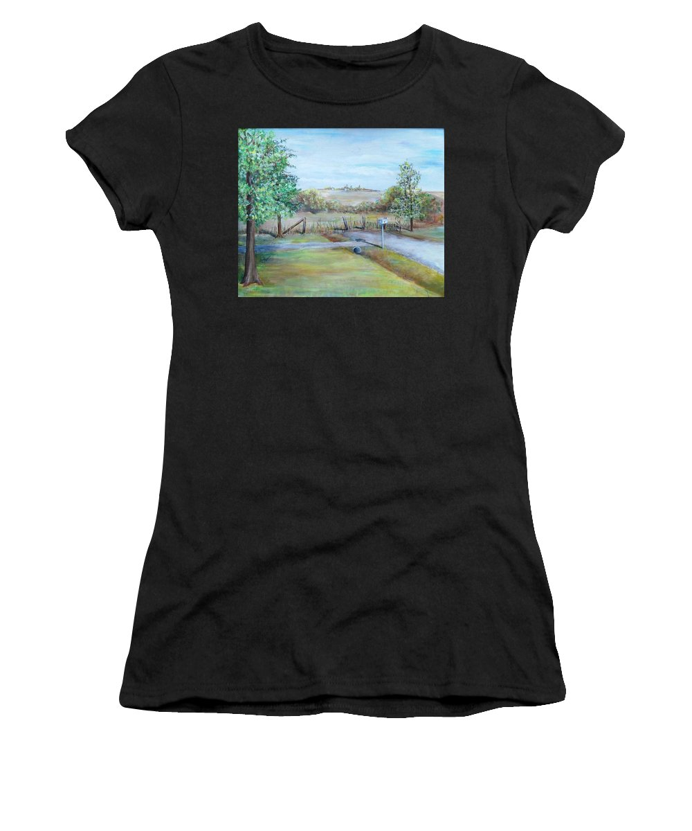 Women's T-Shirt (Athletic Fit) featuring the painting Ranch Rd by Jan Marie