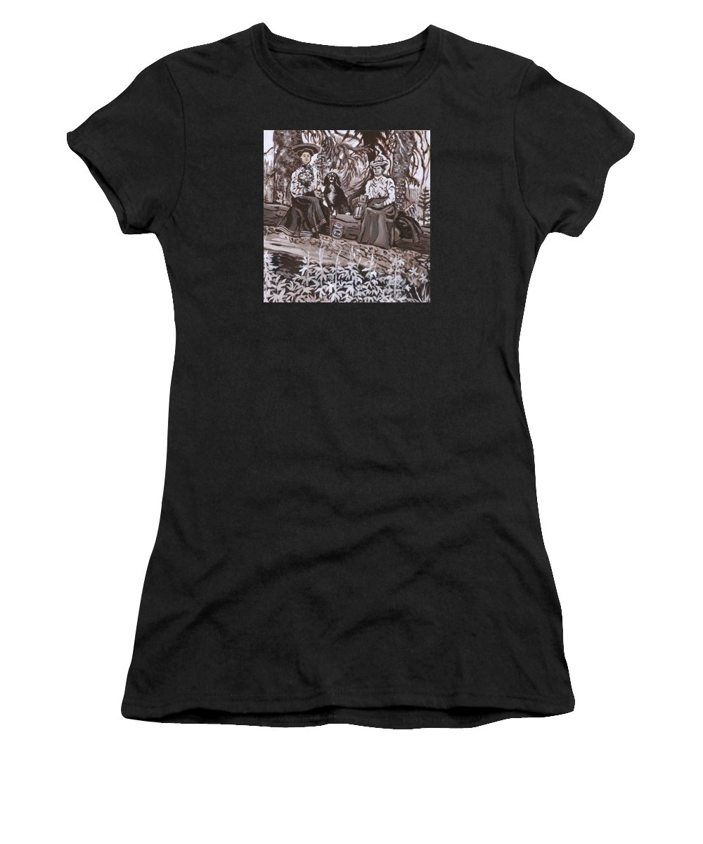 Historical Women's T-Shirt featuring the painting Ranch Women Picking Berries Historical Vignette by Dawn Senior-Trask