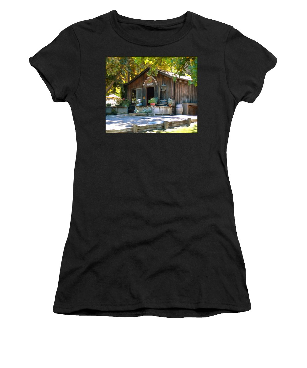 Barbara Snyder Women's T-Shirt featuring the digital art Rancho Sisquoc Winery by Barbara Snyder