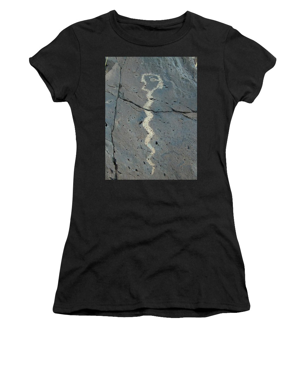 Rattlesnake Women's T-Shirt (Athletic Fit) featuring the photograph Rattlesnake Petroglyph 2 by Tim McCarthy