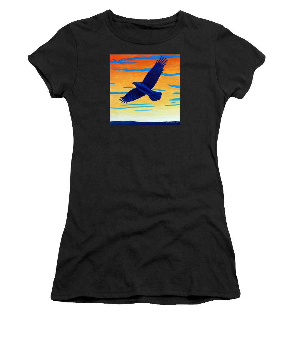 Raven Women's T-Shirt (Athletic Fit) featuring the painting Raven Rising by Brian Commerford