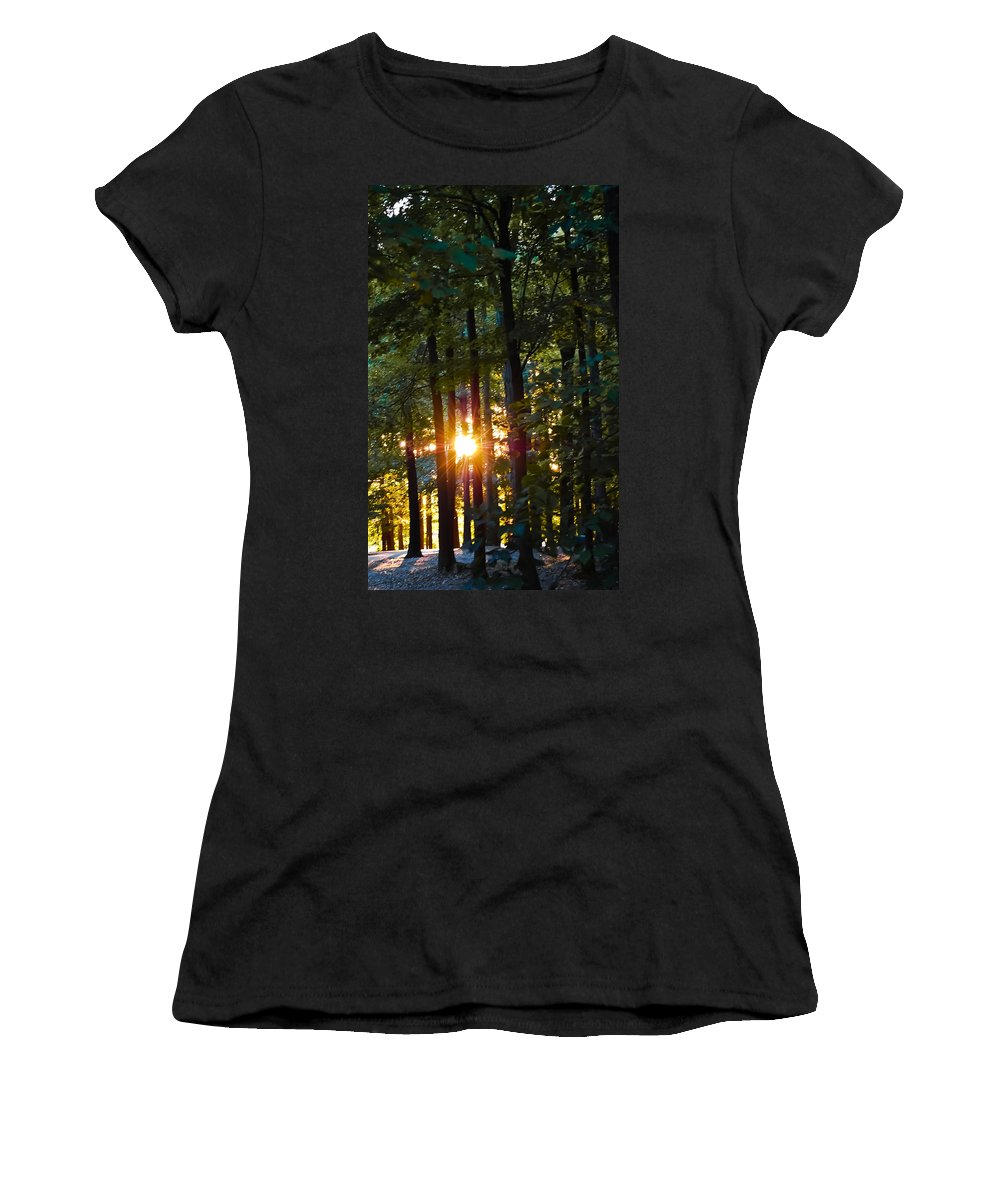 Sun Women's T-Shirt featuring the digital art Rays Of Dawn by DigiArt Diaries by Vicky B Fuller