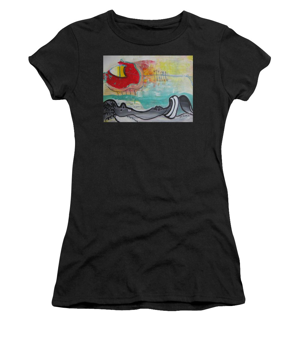 Red Paintings Women's T-Shirt (Athletic Fit) featuring the painting Read My Mind1 by Seon-Jeong Kim