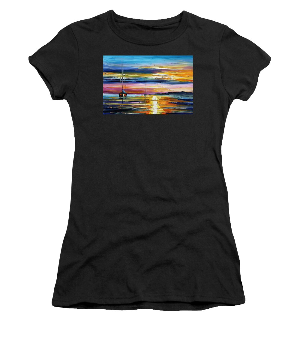 Afremov Women's T-Shirt (Athletic Fit) featuring the painting Real Sunset by Leonid Afremov