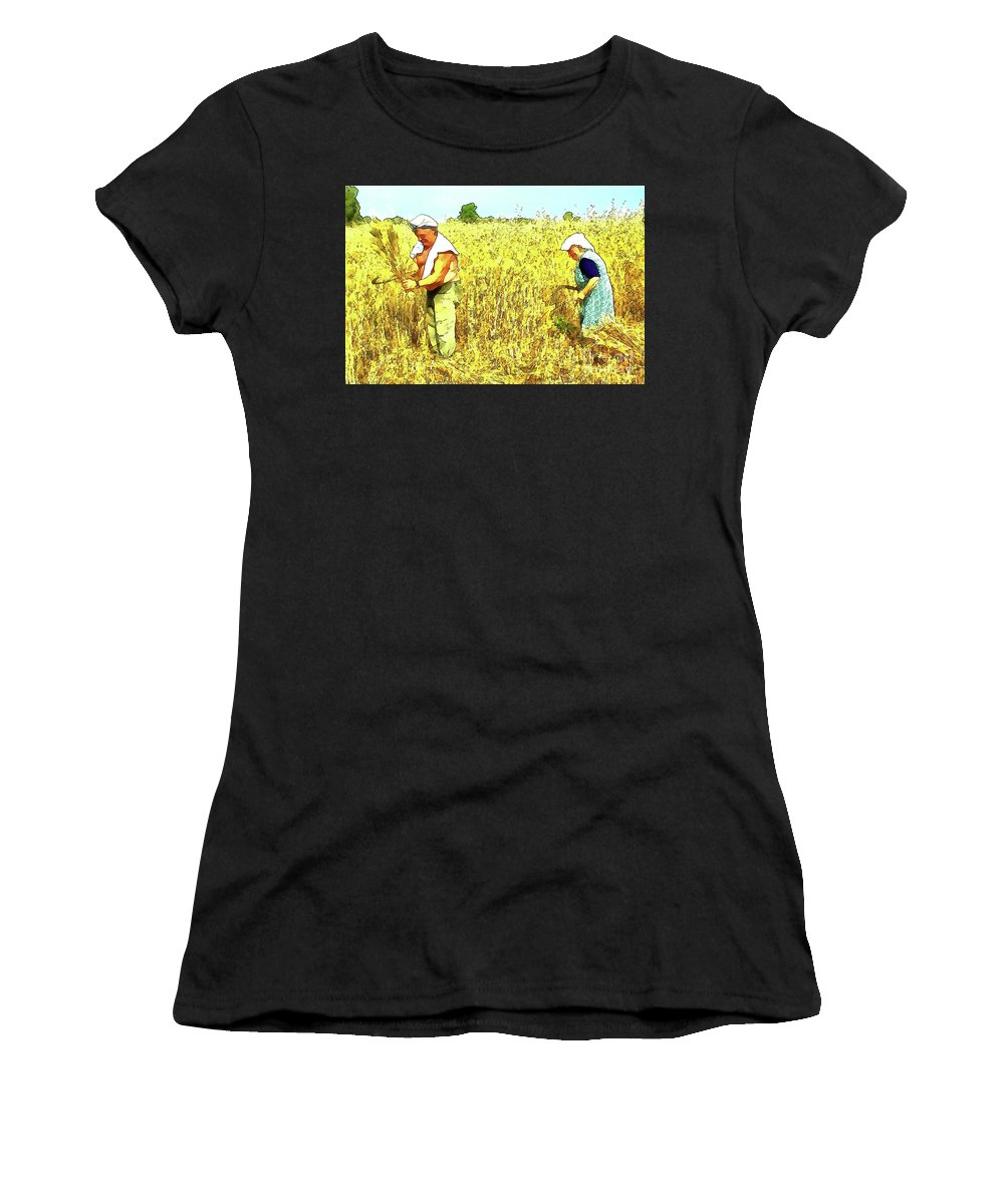 Watercolor Women's T-Shirt (Athletic Fit) featuring the digital art Reaper by Giuseppe Cocco