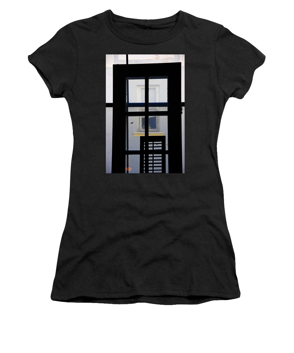 Architecture Women's T-Shirt (Athletic Fit) featuring the photograph Rear Window 2 by Skip Hunt