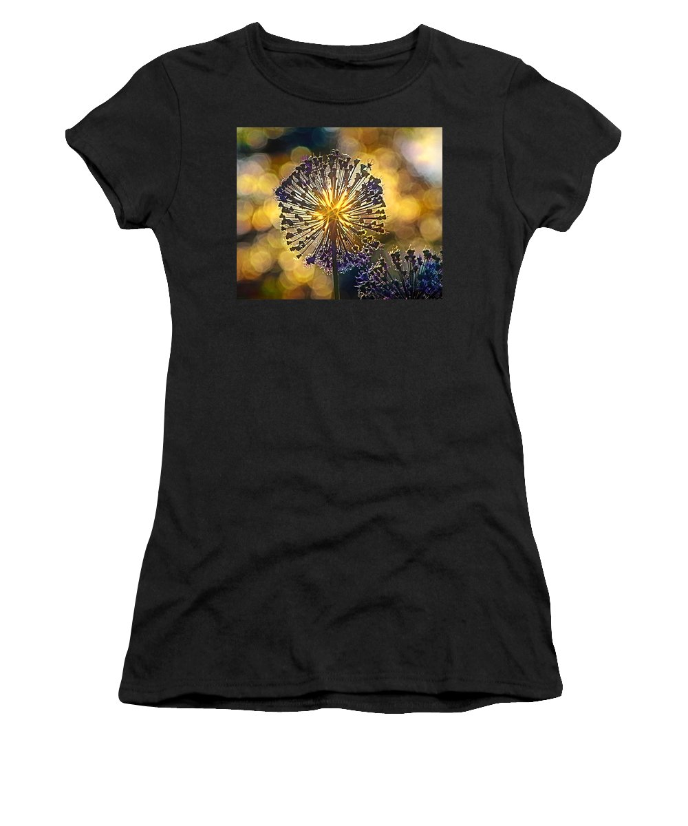 Plant Women's T-Shirt (Athletic Fit) featuring the digital art Red Allium Flower by Evgeny Parushin