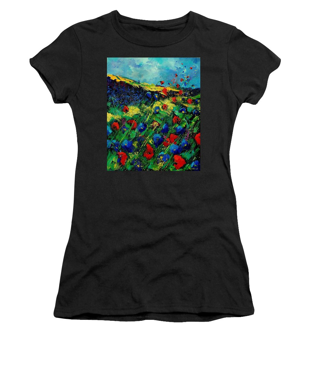 Flowers Women's T-Shirt (Athletic Fit) featuring the painting Red And Blue Poppies 56 by Pol Ledent